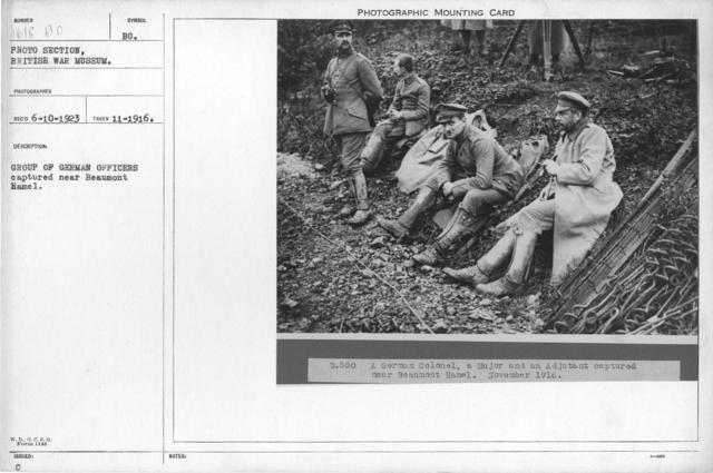Group of German officers captured near Beaumont Hamel. November 1916