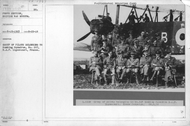 Group of pilots belonging to bombing squadron, No. 207, R.A.F. Ligescourt, France