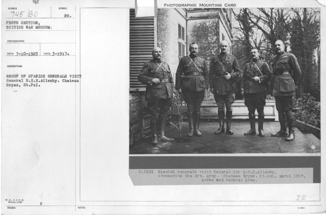 Group of Spanish Generals visit General E.H.H. Allenby. Chateau Bryas, St. Pol. March 1917