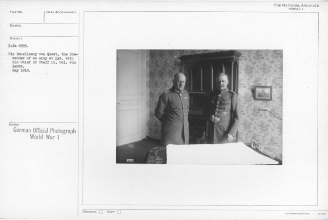 His Excellency von Quast, the Commander of an army at Lys, with his Chief of staff Lt. Col. Von Lentz. May 1918