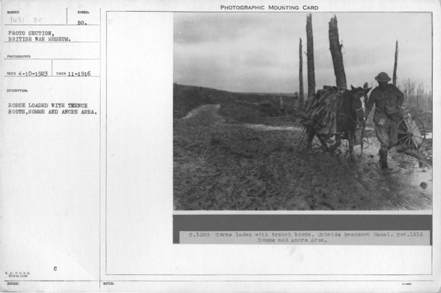 Horse loaded with trench boots, Somme and Ancre Area