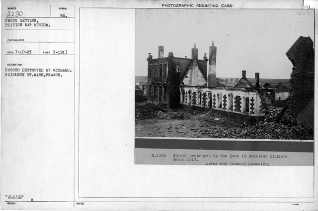 Houses destroyed by Germans. Boisleux ST. Mare, France