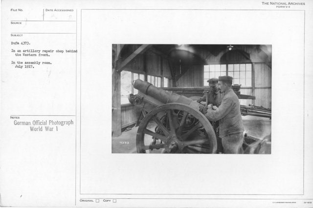 In an artillery repair shop behind the Western front. In the assembly room. July 1917