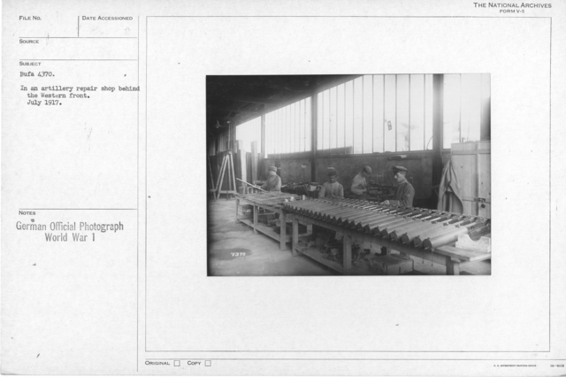 In an artillery repair shop behind the western front. July 1917
