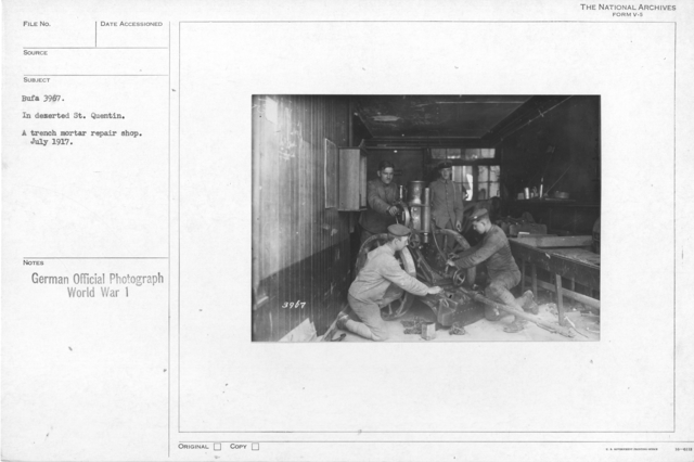 In deserted St. Quentin. A trench mortar repair shop. July 1917