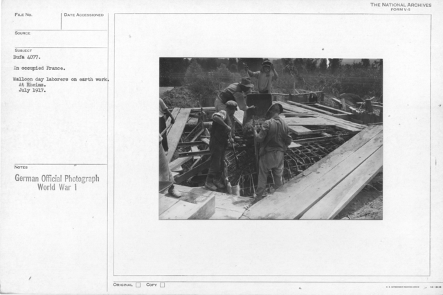 In occupied france. Walloon day laborers on earth work. At Rheims. July 1917