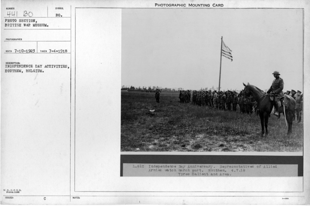 Independence Day activities, Houthem, Belgium; 7/4/1918