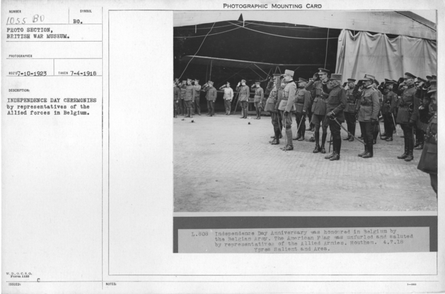 Independence Day ceremonies by representatives of the Allied forces in Belgium
