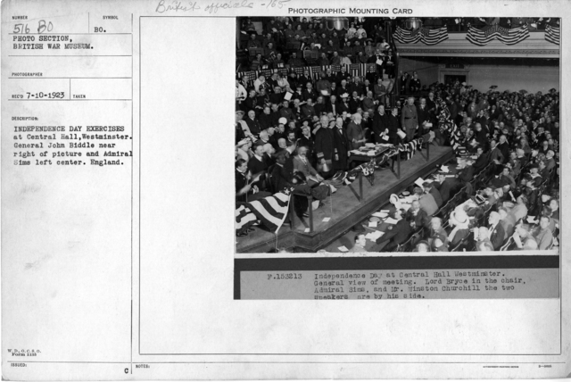 Independence Day exercises at Central Hall, Westminster. General John Biddle near right of picture and Admiral Sims left center. England