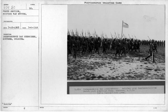 Independence Day exercises, Houthem, Belgium; 7/4/1918