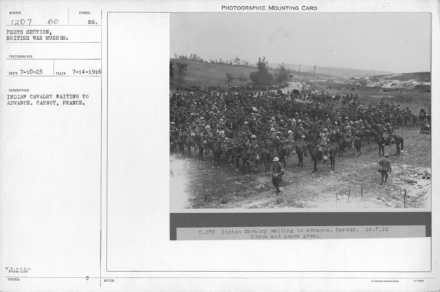 Indian cavalry waiting to advance. Carnoy, France. 7-14-1916