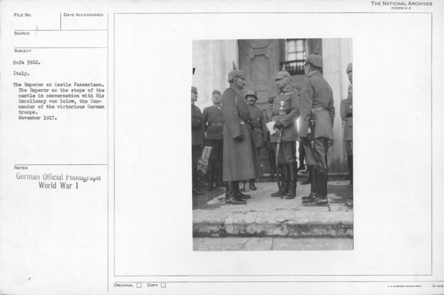Italy. The Emperor at Castle Passariano. The Emperor on the steps of the castle in conversation with his excellency von Below, the Commander of the victorious German troops. November 1917