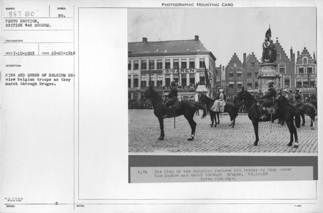 King and Queen of Belgium review Belgian troops as they march through Bruges. 10-25-1918