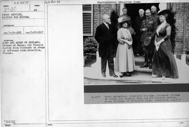 King and Queen of England; Prince of Whales; Sir Francis Bertie with Poincare on steps of officers club. Abbeville, France