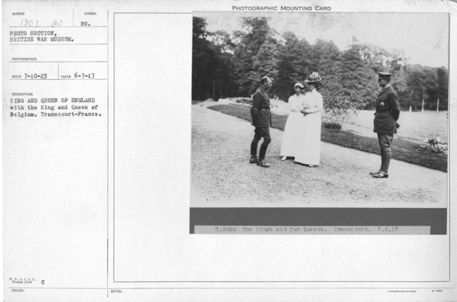 King and Queen of England with the King and Queen of Belgium, Tramecourt-France. 6-7-1917