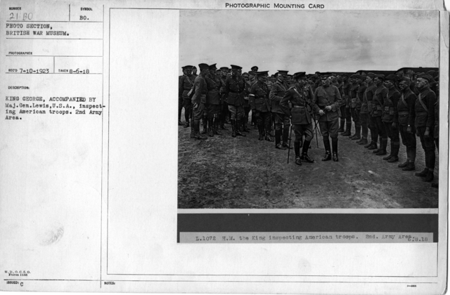 King George, accompanied by Maj.Gen.Lewis, U.S.A., inspecting American troops. 2nd Army area