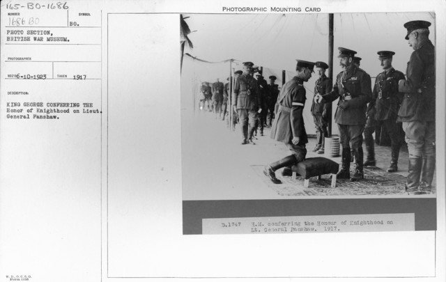 King George conferring the Honor of Knighthood on Lieut. General Fanshaw. 1917