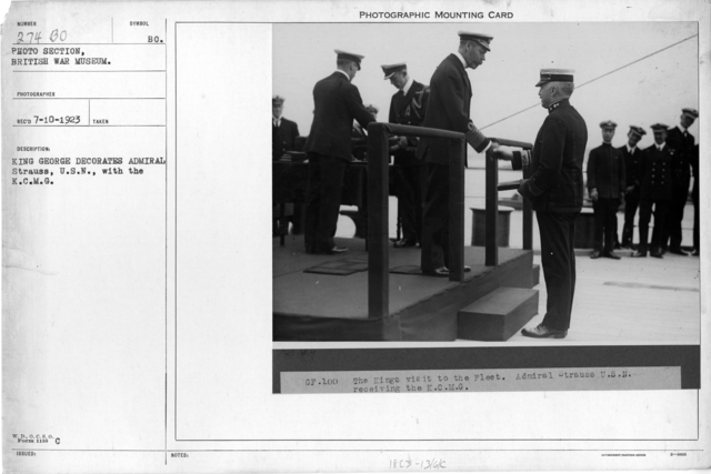 King George decorates Admiral Strauss, U.S.N., with the K.C.M.G