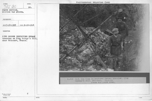 King George inspecting German trenches on King George's Hill, near Fricourt, France. 8-10-1916