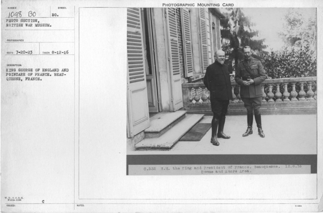 King George of England and Poincare of France. Beauquesne, France