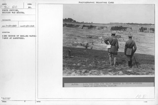 King George of England watching tanks at maneuvers. 8-10-1918