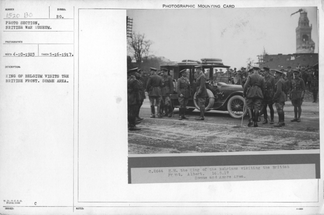 King of Belgium visits the British front. Somme area. 5-16-1917