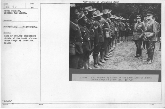 King of England inspecting chiefs of the South African Labor Corps at Abbeville, France. 7-10-1917