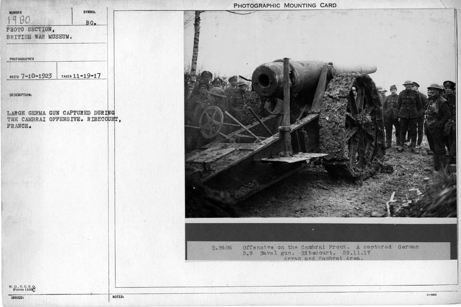 Large German gun captured during the Cambrai offensive. Ribecourt, France