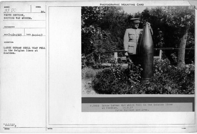 Large German shell that fellin the Belgian lines at Houthem