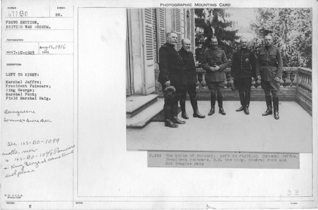 Left to Right: Marshal Joffre; President Poincare; King George; Marshal Foch; Field Marshal Haig. 8-12-1916
