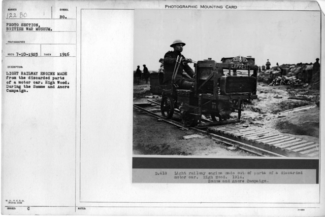 Light railway engine made from the discarded parts of a motor car. High Wood. During the Somme and Ancre Campaign