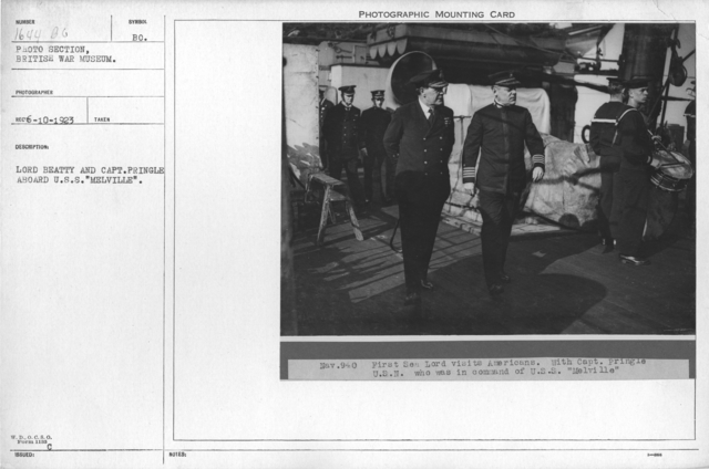 """Lord Beatty and Captain Pringle aboard U.S.S. """"Melville"""""""
