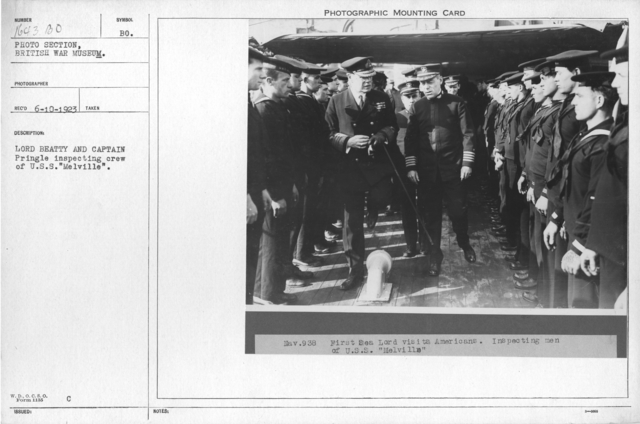 """Lord Beatty and Captain Pringle inspecting crew of U.S.S. """"Melville"""""""