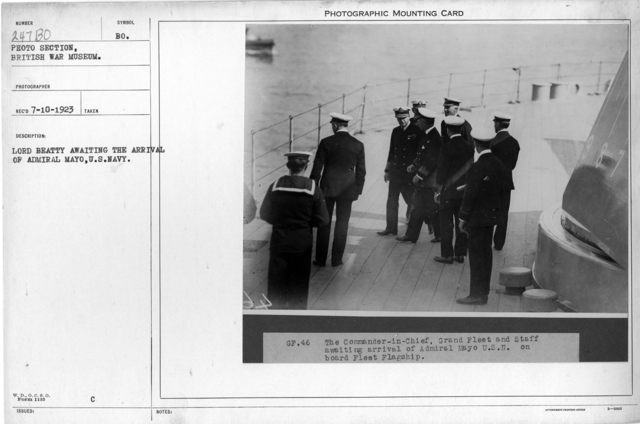 Lord Beatty awaiting the arrival of Admiral Mayo, U.S.Navy