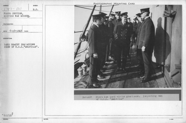 """Lord Beatty inspecting crew of U.S.S. """"Melville"""""""