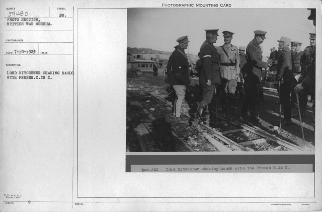 Lord Kitchener shaking hands with French. C. In C