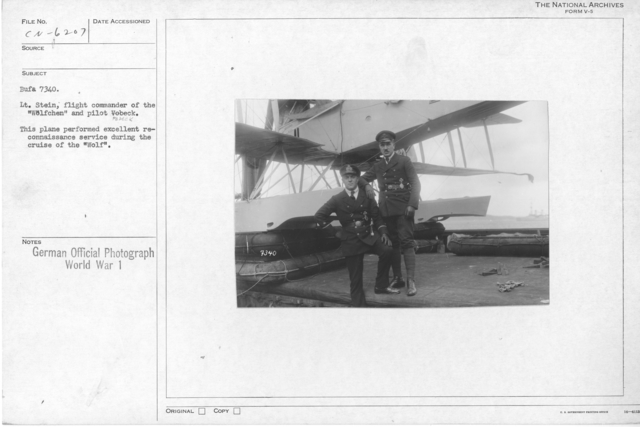 """Lt. Stein, flight commander of the """"Wolfchen"""" and pilot Vobek. This plane performed excellent reconnaissance service during the cruise of the """"Wolf"""""""