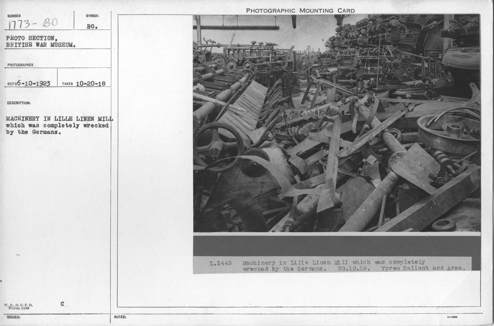 Machinery in Lille linen mill which was completely wrecked by the Germans