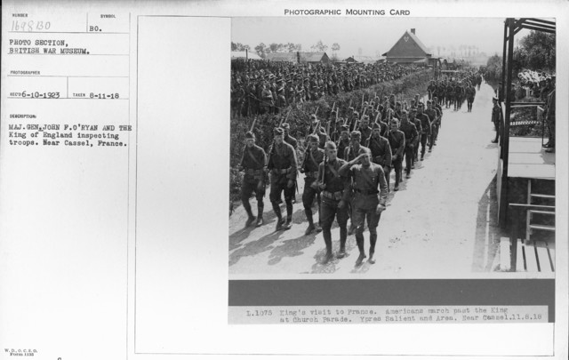 Maj. Gen. John F. O'Ryan and the King of England inspecting troops. Near Cassel, France. 8-11-1918