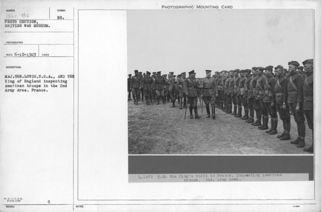 Maj. Gen. Lewis, U.S.A., and the King of England inspecting American troops in the 2nd Army Area. France