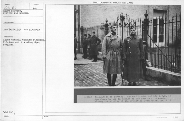 Major General Charles D. Rhodes, U.S. Army and his aide, Spa, Belgium