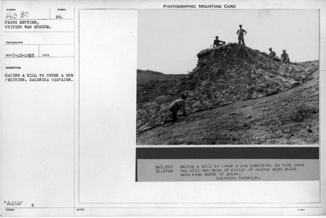Making a hill to cover a gun position. Salonika Campaign