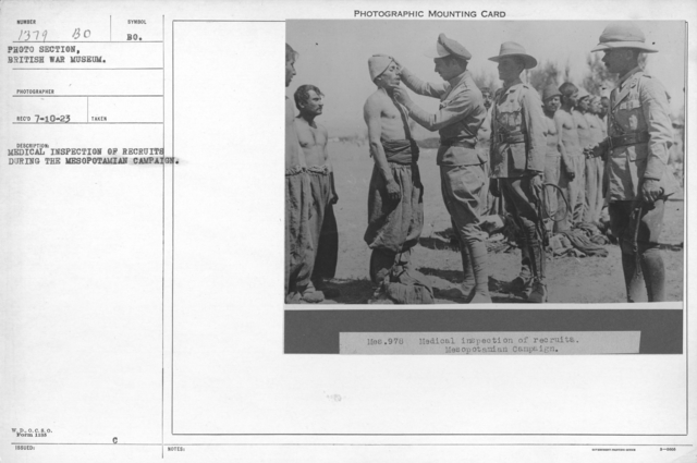 Medical inspection of recruits during the Mesopotamian campaign