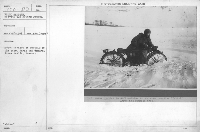 Motor cyclist in trouble in the snow. Arras and Cambrai area. Hesdin, France