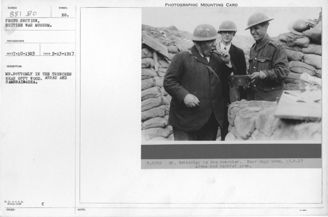 Mr. Bottomly in the trenches near Oppy Wood. Arras and Cambrai Area. 9-13-1917
