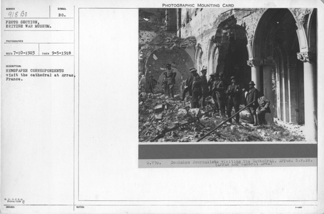 Newspaper correspondents visit the cathedral at Arras, France. 9-5-1918