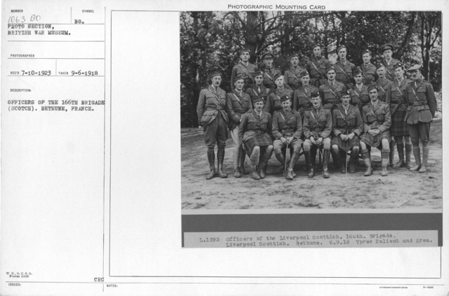 Officers of the 166th brigade (Scotch). Bethune, France