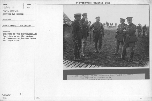 Officers of the Northumberland Fusiliers after the capture of Toutencourt, France. Somme and Ancre area. September 1916