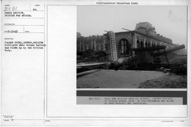 Palace Hotel, Ostend, Belgium destroyed when German battery was blown up by the British Navy