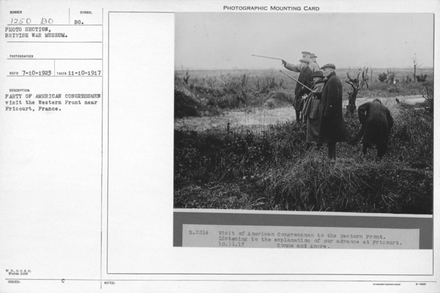 Party of American congressmen visit the Western Front near Fricourt, France. 11-10-1917